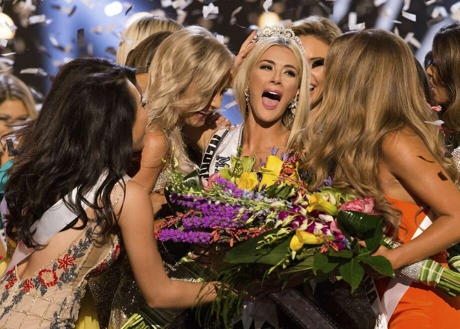 In this photo provided by The Miss Universe Organization, Sarah Rose Summers, Miss Nebraska USA 2018, is crowned Miss USA and congratulated by fellow contestants at the conclusion of the event, Monday, May 21, 2018, in Shreveport, La. Photo: Brittany Elizabeth Strickland, Associated Press