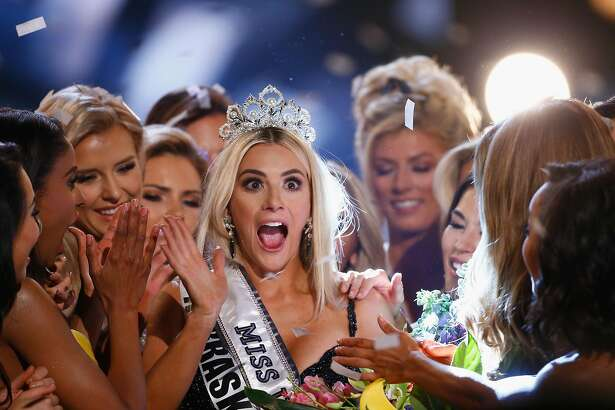 SHREVEPORT, LA - MAY 21:  Miss Nebraska Sarah Rose Summers celebrates after winning the 2018 Miss USA Competition at George's Pond at Hirsch Coliseum on May 21, 2018 in Shreveport, Louisiana.  (Photo by Matt Sullivan/Getty Images)