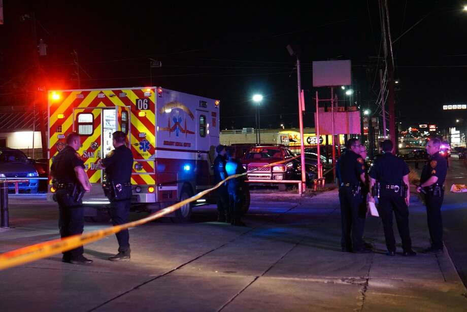 A pedestrian struck by two vehicles, including a police SUV, died Monday May 21, 2018, when attempting to cross San Pedro Avenue in the 5400 block Photo: Jacob Beltran