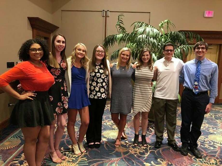 From left, Madison Murray, Alyssa Bailey, Sydney Laplow, Chelsie Jensen, Riley Hopkins, Haley Maynard, Cody Hollingshead and Jacob Mayer. Not pictured: Erin Haskell.