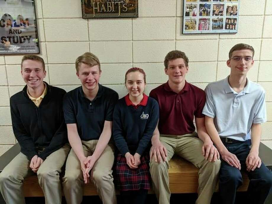 Form left,  Zachary Brown, Matthew Adams (valedictorian), Megan Westphal, Michal Stinson, Kyle Bolander (salutatorian).