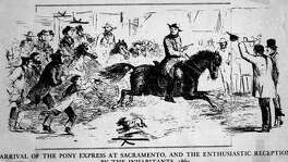 Illustration of the Pony Express arriving in Sacramento