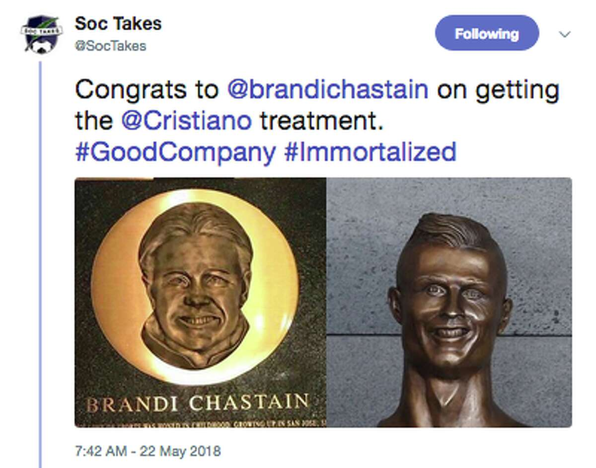 Twitter reacts to the Bay Area Hall of Fame's plaque for Brandi Chastain.