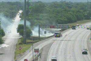 Firefighters responded to the blaze around 9:45 a.m. By 10:05 a.m., the smoke had died down considerably, though the Cupples Road exit remains closed.