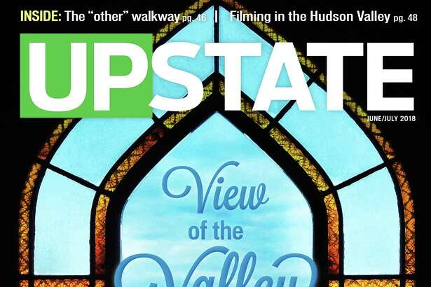 The cover of the June/July issue if Upstate magazine features a view of the Hudson Valley from Olana State Historic Site in Hudson, NY. (Photo and design by Colleen Ingerto)