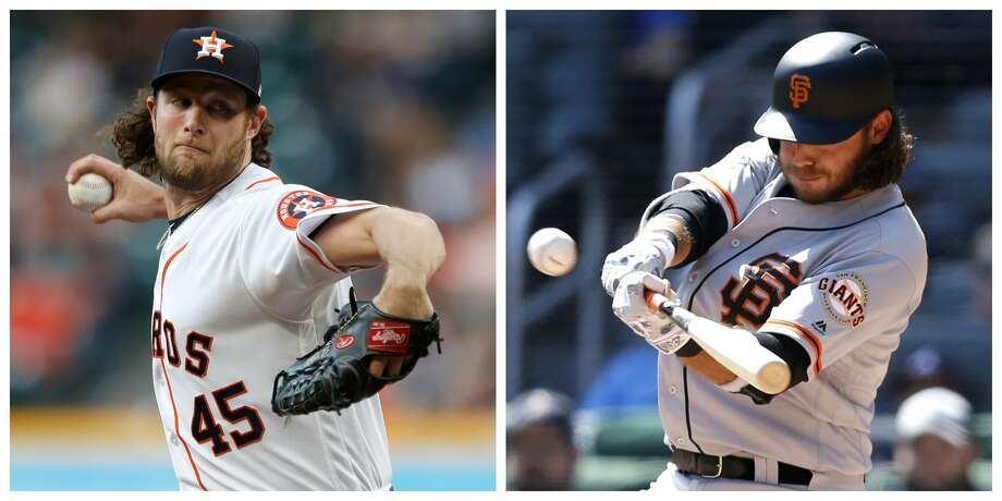 Gerrit Cole, left, and the Astros face Brandon Crawford, his brother-in-law, and the San Francisco Giants on Tuesday. Photo: Karen Warren/Houston Chronicle; Mike Zarrilli/Getty Images