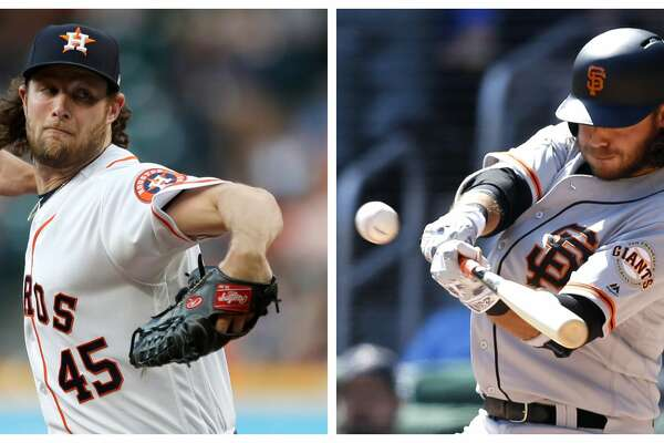 Gerrit Cole, left, and the Astros face Brandon Crawford, his brother-in-law, and the San Francisco Giants on Tuesday.
