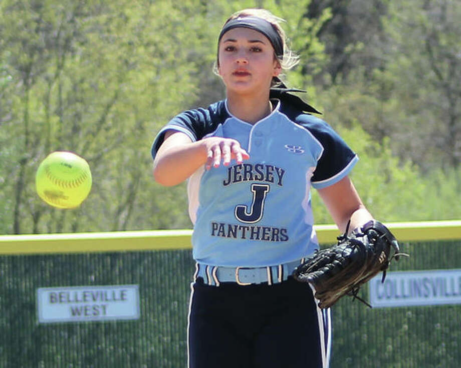 Jersey's Claire Anderson, shown in action earlier this season, struck out five in two innings to earn the win in the Panthers' 17-0 four-inning victory over Cahokia in a Class 3A regional quarterfinal in Jerseyville. Photo:     Greg Shashack / The Telegraph