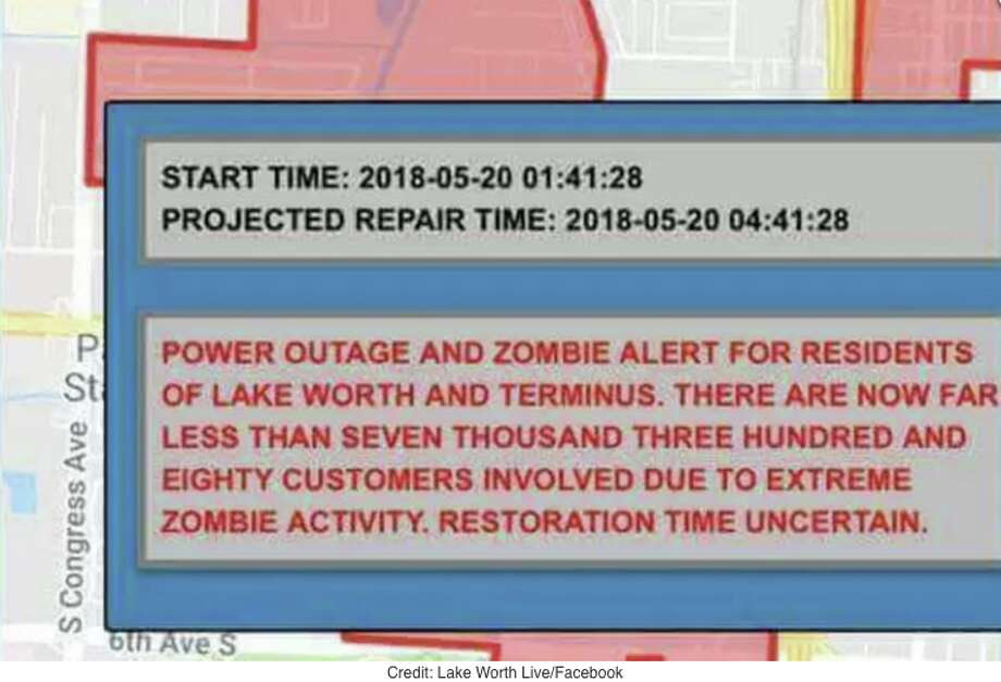"The power went out in the south Florida city of Lake Worth early Sunday morning, and a text was sent out to residents warning of ""extreme zombie activity."" The city later announced on Facebook that the text was bogus. Photo: Facebook Screen Grab /Lake Worth Live"