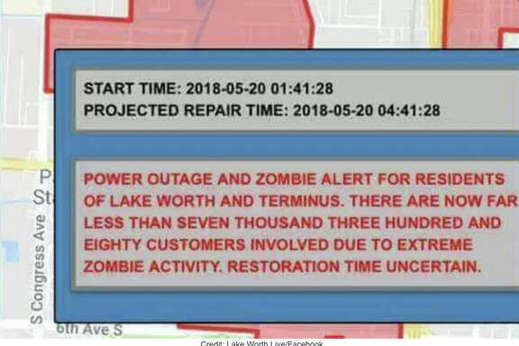 """The power went out in the south Florida city of Lake Worth early Sunday morning, and a text was sent out to residents warning of """"extreme zombie activity."""" The city later announced on Facebook that the text was bogus."""