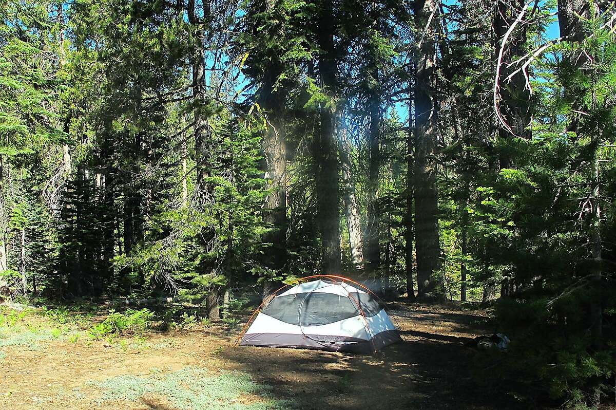 A tent secluded in forest a short distance from Lake Eleanor at the border of Yosemite National Park and Stanislaus National Forest