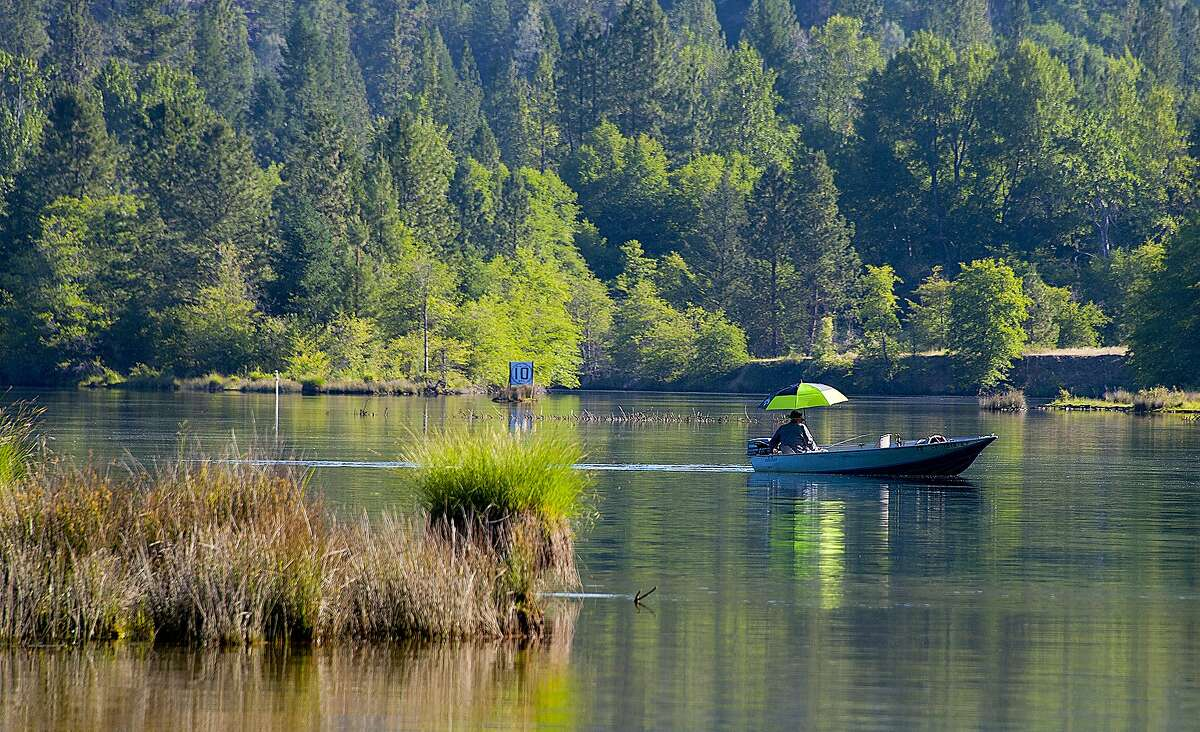 A fisherman trolls for rainbow trout on a spring day on the upper end of Lewiston Lake in Trinity County, near-full as with many lakes in the north state for Memorial Day Weekend
