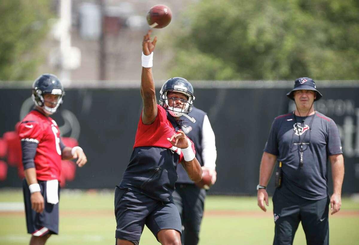 Houston Texans NFL football quarterback Deshaun Watson throws a pass during practice in Houston, Tuesday, May 22, 2018. (Brett Coomer/Houston Chronicle via AP)