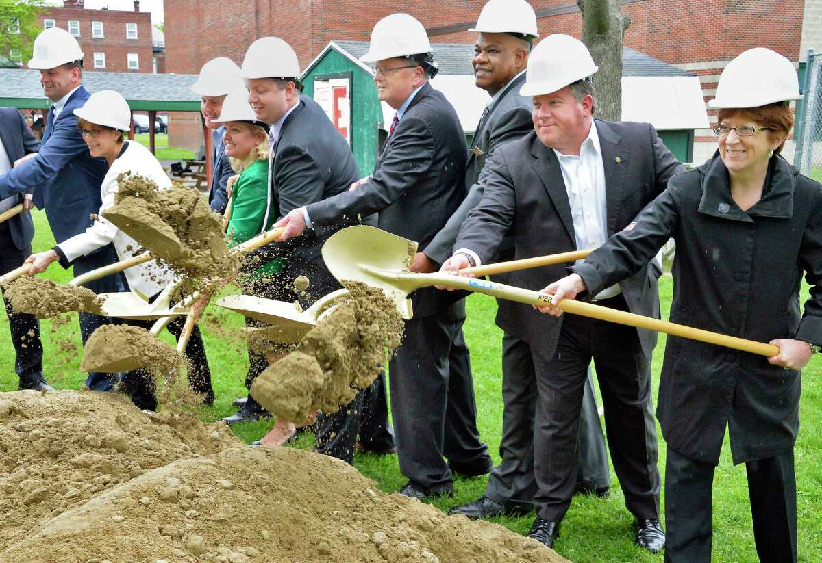 CEO of Northern Rivers William Gettman, center, is joined by dignitaries and officials for ground breaking ceremonies for a new $10 million Behavioral Health Care Center on their Academy Road campus during Tuesday May 22, 2018 in Albany, NY. (John Carl D'Annibale/Times Union)