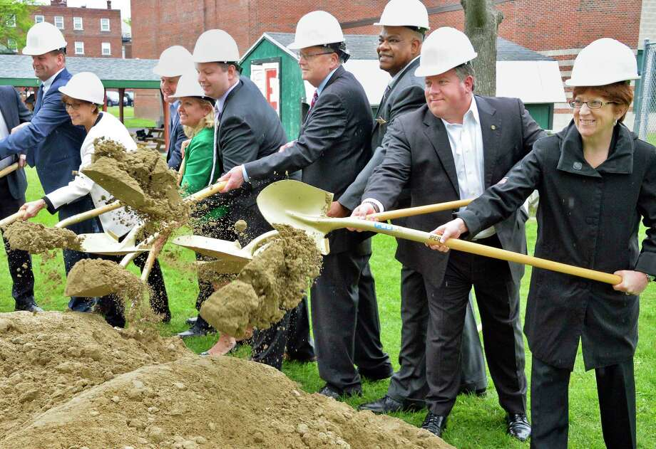 CEO of Northern Rivers William Gettman, center, is joined by dignitaries and officials for ground breaking ceremonies for a new $10 million Behavioral Health Care Center on their Academy Road campus during Tuesday May 22, 2018 in Albany, NY.  (John Carl D'Annibale/Times Union) Photo: John Carl D'Annibale, Albany Times Union / 20043861A