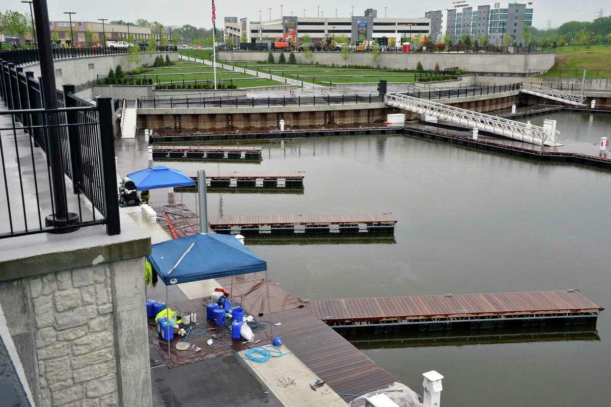 Boat slips at Mohawk Harbor Marina Tuesday May 22, 2018 in Schenectady, NY. (John Carl D'Annibale/Times Union)