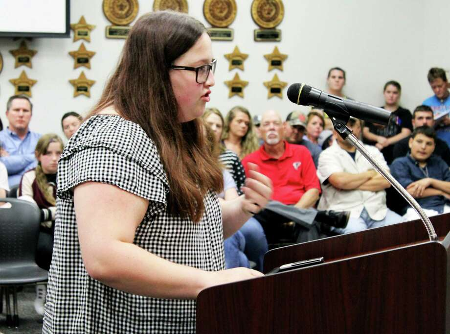 Hargrave High School junior Megan White said to the Huffman ISD Board of Trustees the district needs to come up with plans to prevent active shooters, not prepare for them. Photo: Kaila Contreras