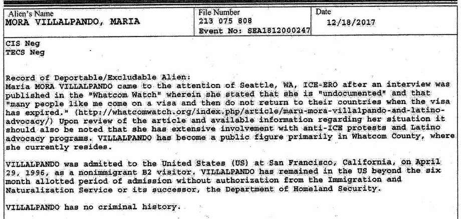 "In the I-213 form ICE uses to establish the basis for placing someone in deportation proceedings, the agent cites a local news website in which Maria Mora-Villalpando states she's ""undocumented"" and describes her ""extensive involvement with anti-ICE protests and Latino advocacy."" Photo: ICE"