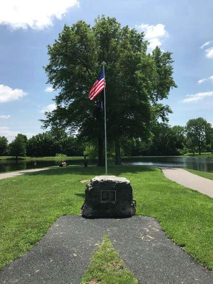 The Vietnam Memorial boulder in Wood River's Belk Park. Photo:       For The Telegraph