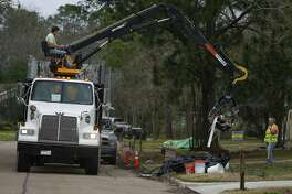 Collection of debris from Hurricane Harvey has a been a long-term process in Friendswood. The city's waste collection provider, Waste Connections, is going through various neighborhoods again collecting material from the storm or storm-related remodeling projects. Here, a FEMA disaster recovery vehicle picks up flood debris in the Forest Bend neighborhood in January.