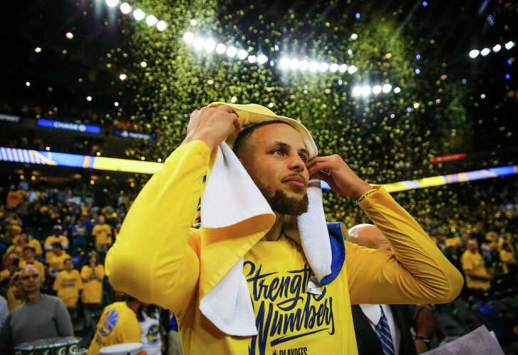 Stephen Curry after winning Game 3 of the Western Conference Finals between the Golden State Warriors and the Houston Rockets at Oracle Arena in Oakland, California, on Sunday, May 20, 2018.