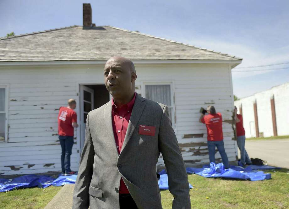 In this April 18, 2017, photo, Marvin Ellison, CEO of J.C. Penney Co., visits the boyhood home of the company's founder James Cash Penney in Hamilton, Mo. J.C. Penney's CEO is leaving the company to become the top executive at Lowe's. The announced departure of Ellison on Tuesday, May 22, 2018, sent shares of the besieged department store tumbling more than 12 percent to what may become an all-time low. Photo: Jessica A. Stewart /Associated Press / The St. Joseph News-Press