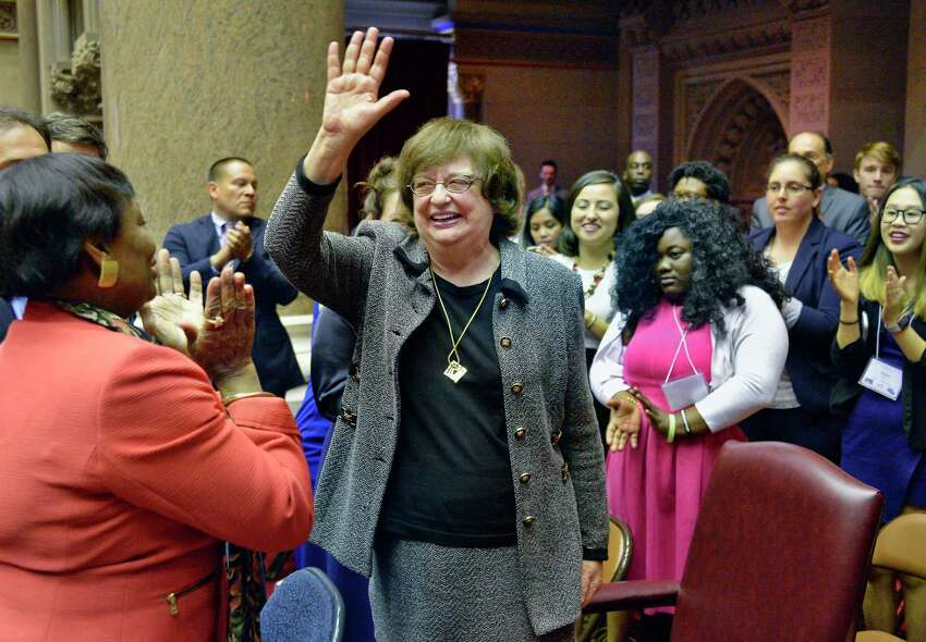Barbara Underwood, center, acknowledges applause after being appointed attorney general to fill remainder of Eric Schneiderman's term during a joint legislative session at the Capitol Tuesday May 22, 2018 in Albany, NY. (John Carl D'Annibale/Times Union)