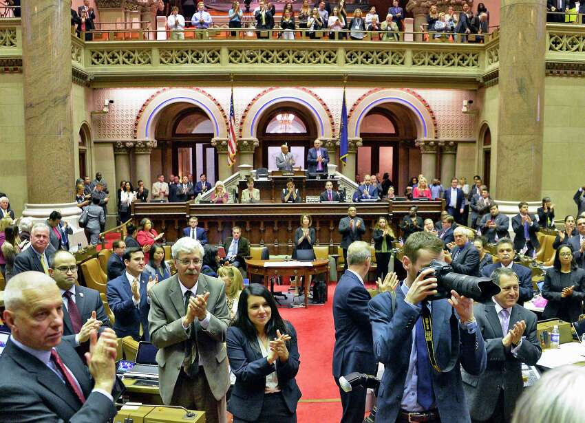 A packed Assembly Chamber rises to applaud Barbara Underwood after being appointed attorney general to fill remainder of Eric Schneiderman's term during a joint legislative session at the Capitol Tuesday May 22, 2018 in Albany, NY. (John Carl D'Annibale/Times Union)