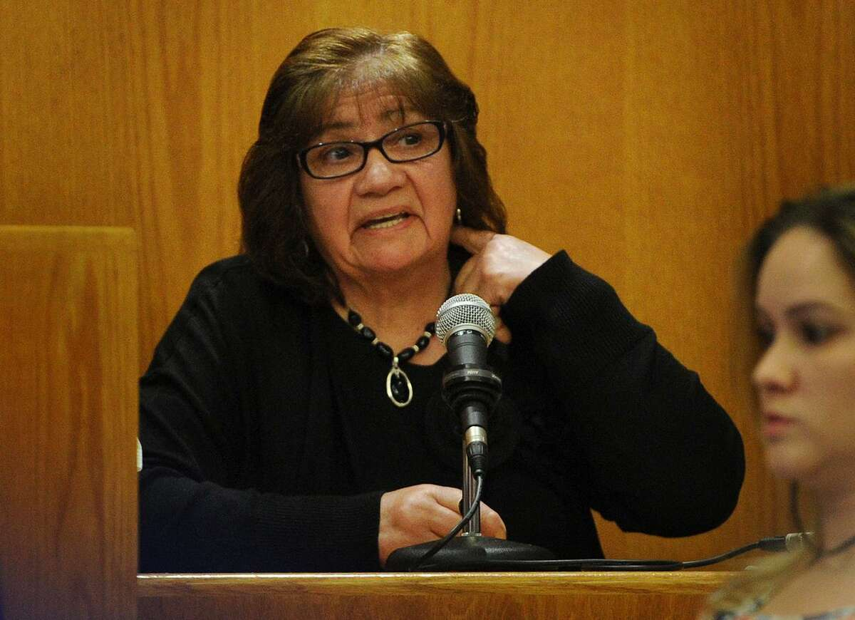 Maria Salgado, wife of popular Bridgeport store owner Jose Salgado, describes how her husband was shot hrough the neck during the murder trial of West Haven Treizy Lopez in Superior Court in Bridgeport, Conn. on Tuesday, May 22, 2018. Salgado was killed during a robbery attempt at his store on April 11, 2015.