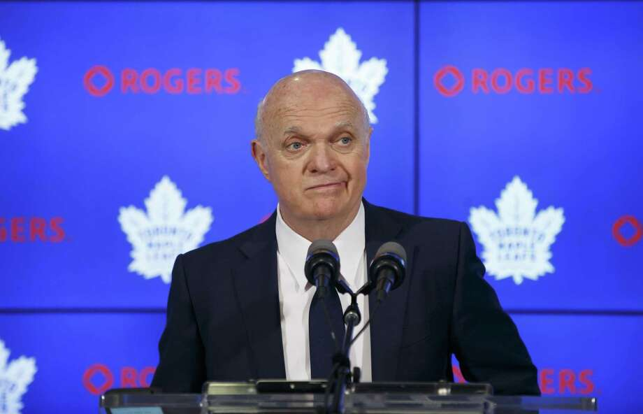 Maple Leafs general manager Lou Lamoriello speaks to reporters on April 27 in Toronto. Longtime NHL executive Lamoriello, 75, has joined the New York Islanders and will have full authority in all hockey matters. Photo: Cole Burston / Associated Press / The Canadian Press