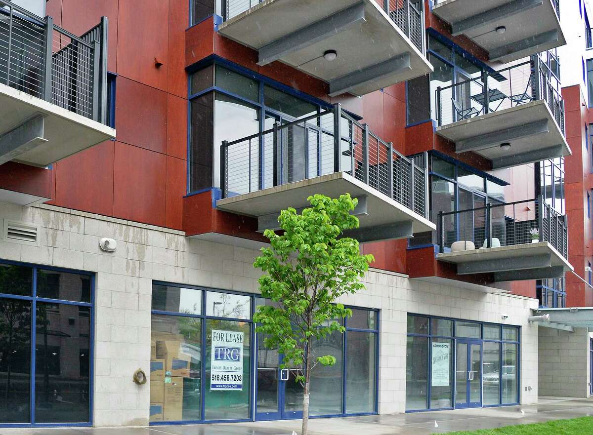 Retail spaces for rent below River House apartments at Mohawk Harbor Tuesday May 22, 2018 in Schenectady, NY. (John Carl D'Annibale/Times Union)