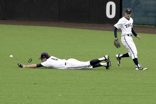 Yale right fielder Brian Ronai comes up short on a diving attempt which lead to Columbia's two out run in the seventh inning on Tuesday, May 22, 2018 in New Haven, Conn. Columbia won 4-0.
