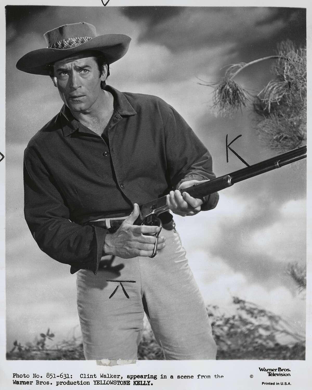 """Clint Walker in """"Yellowstone Kelly.""""Clint Walker in """"Cheyenne"""" TV show."""