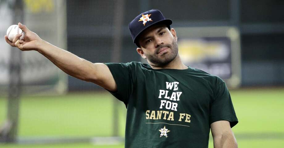 Houston Astros second baseman Jose Altuve throws during batting practice before a baseball game against the San Francisco Giants, Tuesday, May 22, 2018, in Houston. The Astros are wearing shirts showing their support for the Santa Fe High School shooting victims. (AP Photo/David J. Phillip) Photo: David J. Phillip/Associated Press