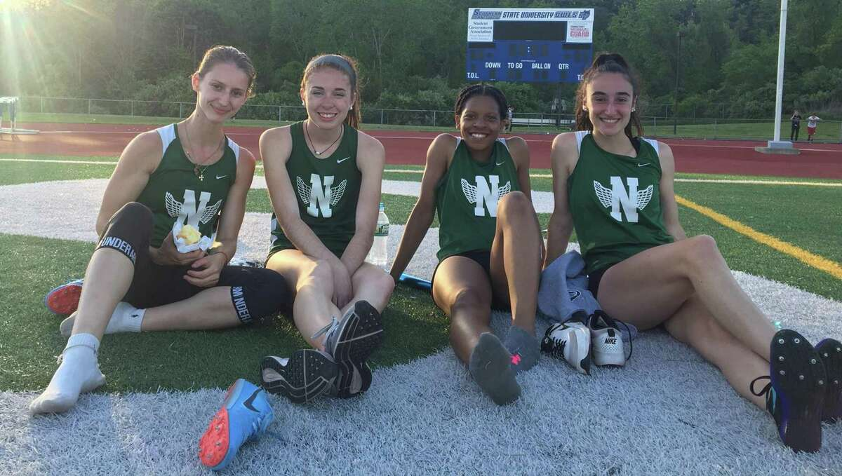 Norwalk's girls 4x400 relay team - from left, Frideriki Koletsos, Laura Turner, Christline Edward and Caila DeGrandi - set a school record while placing fourth in the event at Monday's FCIAC championship meet.