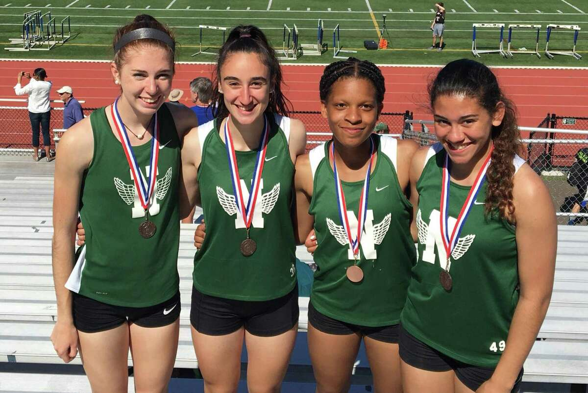 Norwalk High's 4x100 relay team of, from left, Laura Turner, Caila DeGrandi, Christline Edward and Ashley Wilson placed third at the FCIAC track championship meet in New Haven on Monday.