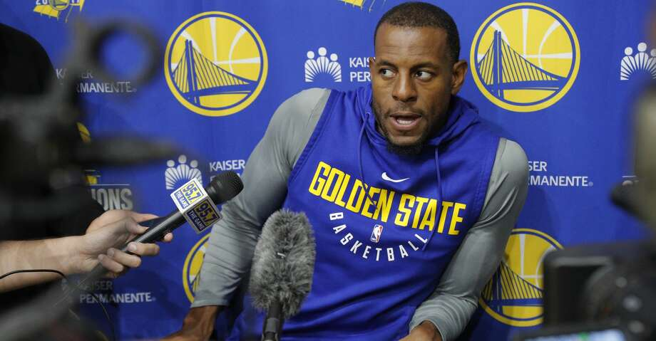 Warriors Andre Iguodala, 9 talks to the media during a practice session at their facility in downtown  in Oakland, Ca. on Fri. May 11, 2018. Photo: Michael Macor/The Chronicle