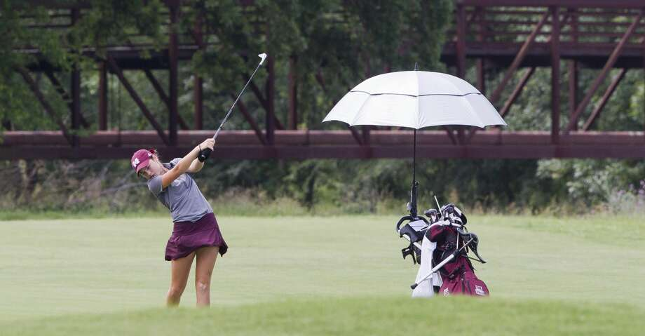Halle Whitney of Magnolia plays her third shot on the second hole during the final round of the Class 5A UIL State Golf Championships at White Wing Golf Club, Tuesday, May 22, 2018, in Georgetown. Photo: Jason Fochtman/Houston Chronicle