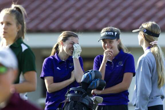 Willis golfers Jessica Riddle, Kendall Wall and Sloane Veronico share a laugh before the final round of the District 21-5A golf tournament at La Torretta Lake Resort & Spa, Wednesday, April 11, 2018, in Montgomery.
