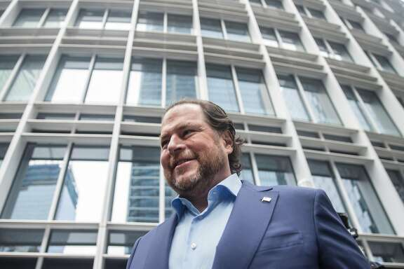 Salesforce CEO Marc Benioff arrives for the grand opening ceremony of the Salesforce Tower in San Francisco, Calif. Tuesday, May 22, 2018.