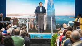 Salesforce CEO Marc Benioff speaks during the grand opening ceremony of the Salesforce Tower in San Francisco, Calif. Tuesday, May 22, 2018.