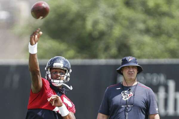 Texans coach Bill O'Brien is keeping an eye on quarterback Deshaun Watson during organized team activities.