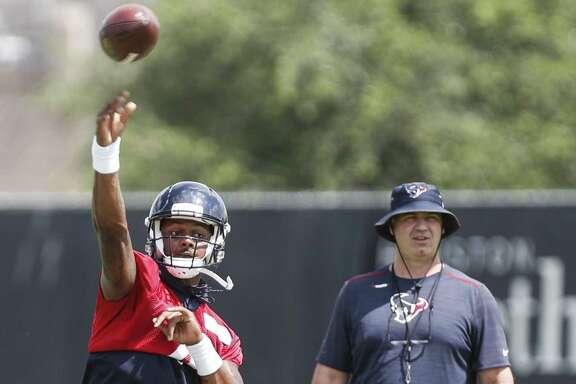 Texans coach Bill O'Brien is keeping an eye on quarterback Deshaun Watson during organized team activities.