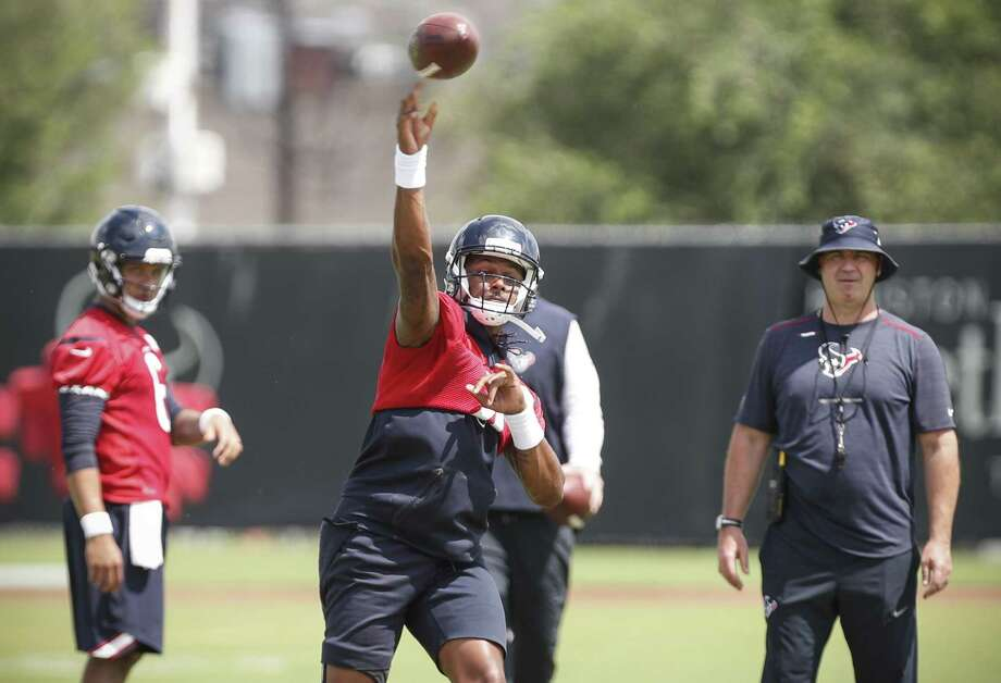 The health of quarterback Deshaun Watson (center) following knee surgery is a topic on many Texans' minds as training camp nears. Photo: Brett Coomer, Staff / Houston Chronicle / © 2018 Houston Chronicle
