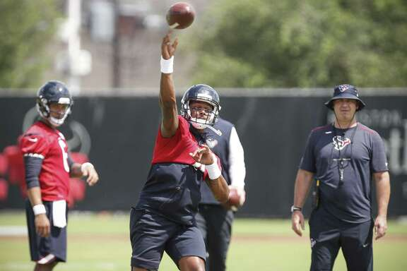 Houston Texans quarterback Deshaun Watson throws a pass during Organized Team Activities at The Methodist Training Center on Tuesday, May 22, 2018, in Houston. ( Brett Coomer / Houston Chronicle )