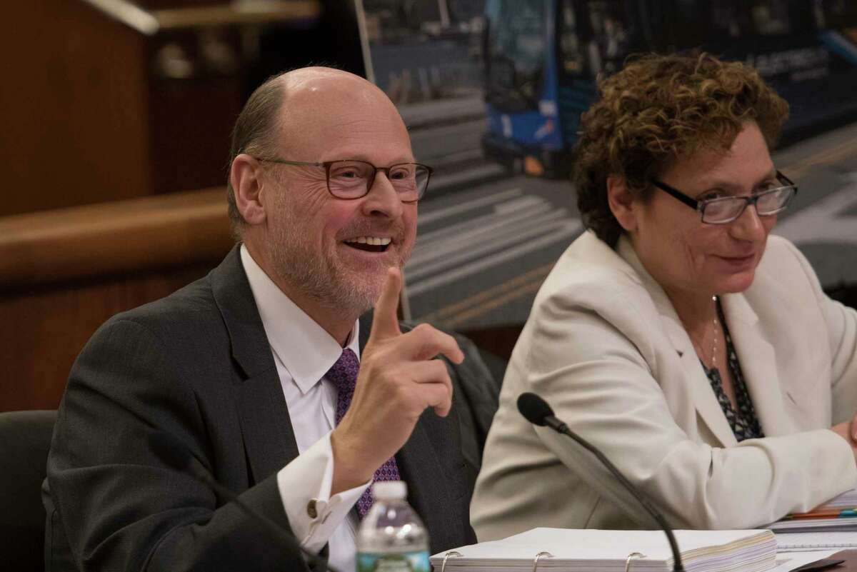 MTA chairman Joseph Lhota testifies before the New York State Legislature's Budget Hearing in the Legislative Office Building on Thursday, Jan. 25, 2018, in Albany, N.Y. Seated with Lhota is Veronique Hakim, managing director of the MTA. (Skip Dickstein/Times Union)