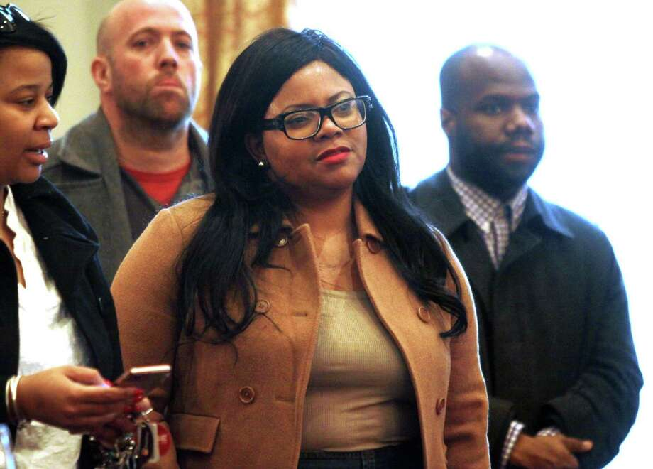 Shante Hanks, a candidate for 126th state house district, attends the DTC election for chairman at Testo's Restaurant in Bridgeport, Conn., Mar. 15, 2018. Photo: Christian Abraham / Hearst Connecticut Media / Connecticut Post