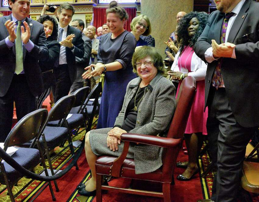 Barbara Underwood, center, receives applause after being appointed attorney general to fill remainder of Eric Schneiderman's term during a joint legislative session at the Capitol Tuesday May 22, 2018 in Albany, NY. (John Carl D'Annibale/Times Union)