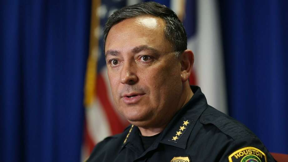 Houston Police Chief Art Acevedo talks to the media at the Houston Police Department headquarters in downtown Houston on Tuesday, May 22, 2018, after getting into an online war of words with the National Rifle Association. Photo: Mark Mulligan / Houston Chronicle / Houston Chronicle