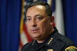 Houston Police Chief Art Acevedo talks to the media at the Houston Police Department headquarters in downtown Houston on Tuesday, May 22, 2018, after getting into an online war of words with the National Rifle Association.
